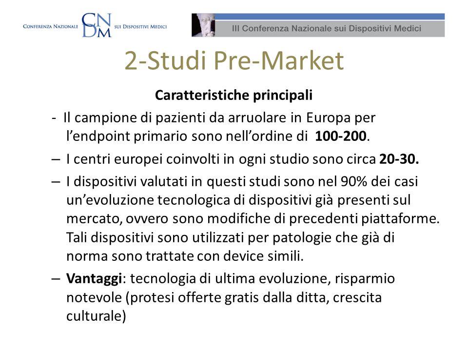 2-Studi Pre-Market Caratteristiche principali - Il campione di pazienti da arruolare in Europa per lendpoint primario sono nellordine di 100-200. – I