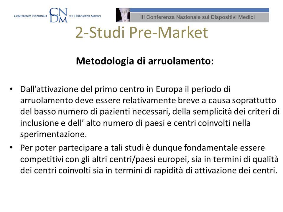 2-Studi Pre-Market La realtà italiana La lentezza del processo di approvazione ha comportato per gli ultimi studi multicentrici internazionali sottomessi ai Comitati Etici e al Ministero della Salute la mancata partecipazione dei centri italiani.