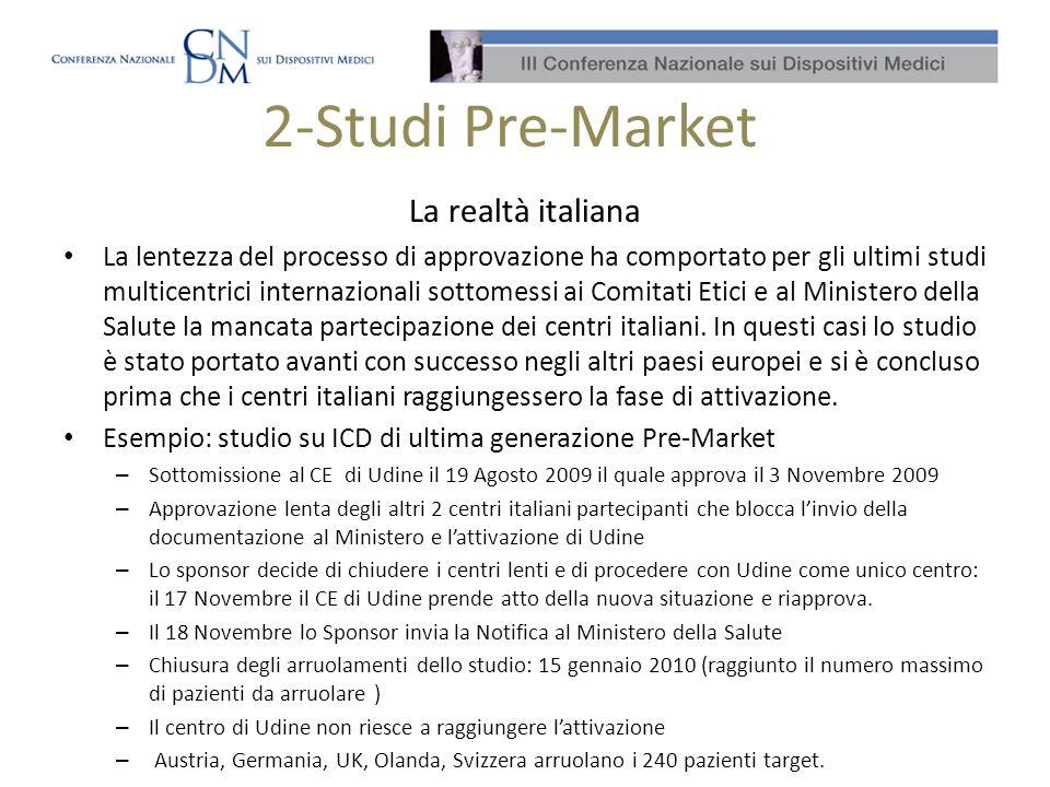2-Studi Pre-Market La realtà italiana La lentezza del processo di approvazione ha comportato per gli ultimi studi multicentrici internazionali sottome