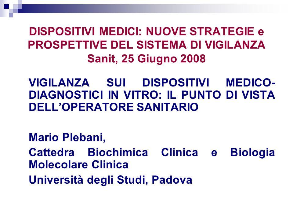 DISPOSITIVI MEDICI: NUOVE STRATEGIE e PROSPETTIVE DEL SISTEMA DI VIGILANZA Sanit, 25 Giugno 2008 VIGILANZA SUI DISPOSITIVI MEDICO- DIAGNOSTICI IN VITR