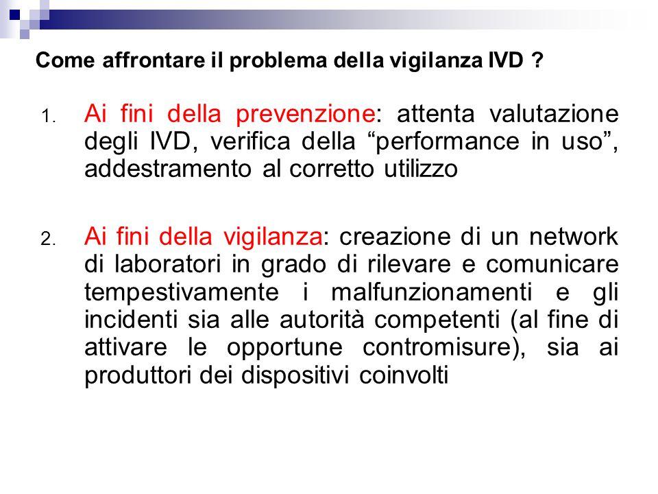 Come affrontare il problema della vigilanza IVD ? 1. Ai fini della prevenzione: attenta valutazione degli IVD, verifica della performance in uso, adde