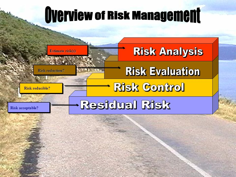 Risk acceptable? Risk reducible? Risk reduction? Estimate risk(s)
