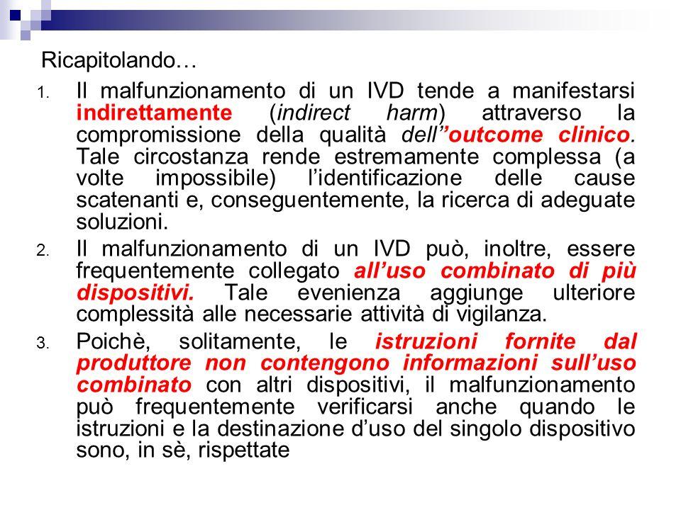 Ricapitolando… 1. Il malfunzionamento di un IVD tende a manifestarsi indirettamente (indirect harm) attraverso la compromissione della qualità dellout