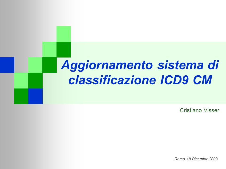 Aggiornamento sistema di classificazione ICD9 CM Roma, 18 Dicembre 2008 Cristiano Visser