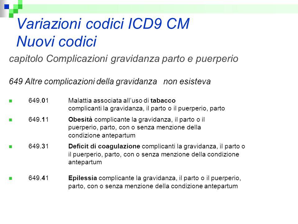 Variazioni codici ICD9 CM Nuovi codici capitolo Complicazioni gravidanza parto e puerperio 649 Altre complicazioni della gravidanza non esisteva 649.0
