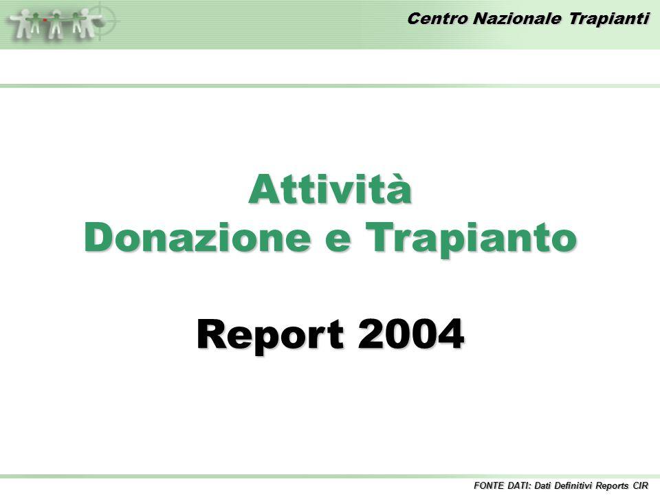 Centro Nazionale Trapianti Attività Donazione e Trapianto Report 2004 FONTE DATI: Dati Definitivi Reports CIR