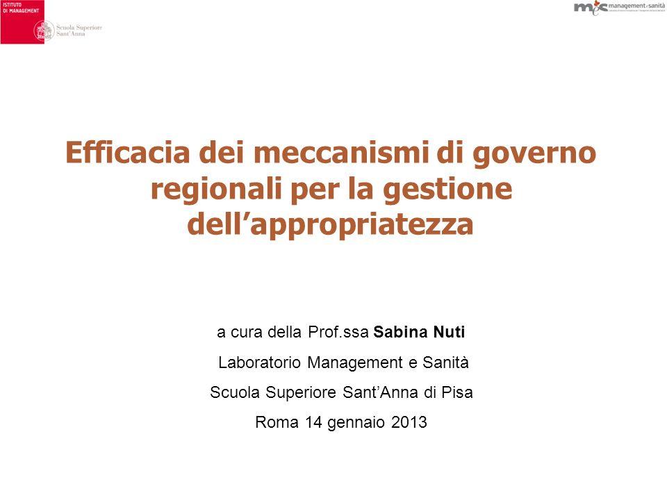 Efficacia dei meccanismi di governo regionali per la gestione dellappropriatezza a cura della Prof.ssa Sabina Nuti Laboratorio Management e Sanità Scuola Superiore SantAnna di Pisa Roma 14 gennaio 2013