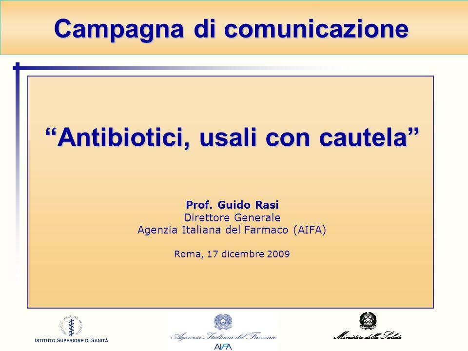 Ministero della Salute Antibiotici, usali con cautela Antibiotici, usali con cautela Prof. Guido Rasi Direttore Generale Agenzia Italiana del Farmaco