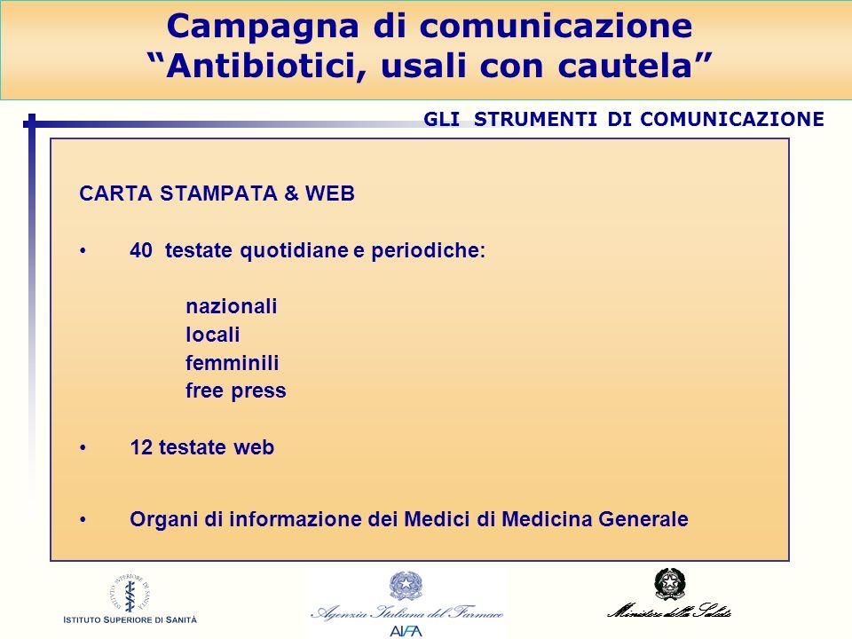 Ministero della Salute CARTA STAMPATA & WEB 40 testate quotidiane e periodiche: nazionali locali femminili free press 12 testate web Organi di informa