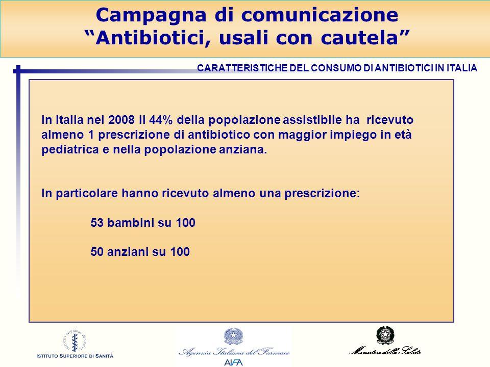 Ministero della Salute Campagna di comunicazione Antibiotici, usali con cautela In Italia nel 2008 il 44% della popolazione assistibile ha ricevuto al