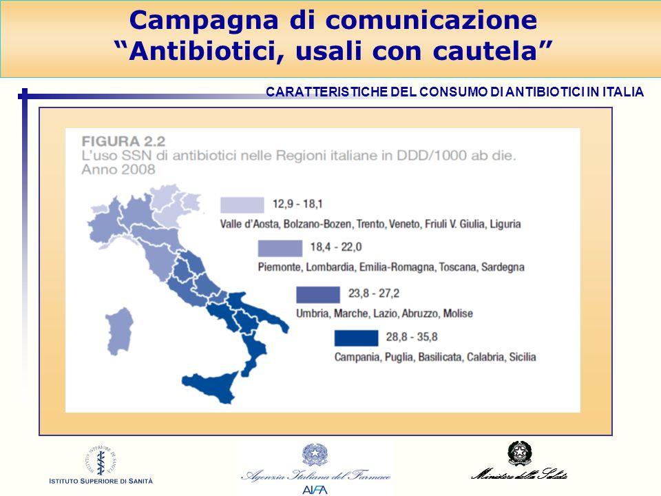 Ministero della Salute Campagna di comunicazione Antibiotici, usali con cautela CARATTERISTICHE DEL CONSUMO DI ANTIBIOTICI IN ITALIA