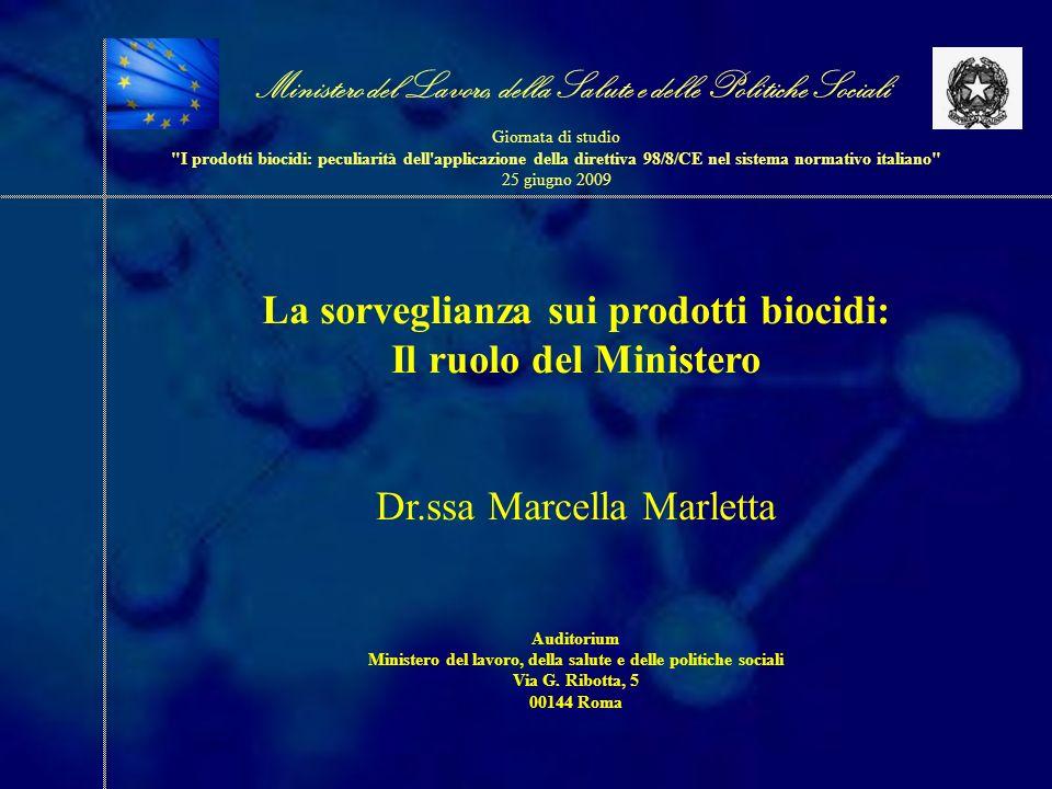 La sorveglianza sui prodotti biocidi: Il ruolo del Ministero Dr.ssa Marcella Marletta Auditorium Ministero del lavoro, della salute e delle politiche