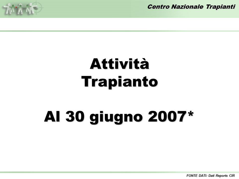 Centro Nazionale Trapianti AttivitàTrapianto Al 30 giugno 2007* FONTE DATI: Dati Reports CIR