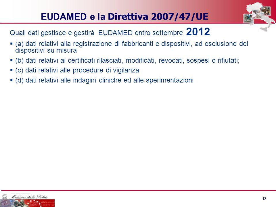 11 EUDAMED - Fase 2 La fase 2 del progetto prevede, lo sviluppo di nuove funzioni per agevolare la ricerca di dispositivi e le analisi statistiche. So