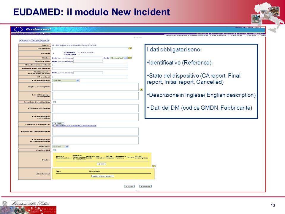 12 EUDAMED e la Direttiva 2007/47/UE Quali dati gestisce e gestirà EUDAMED entro settembre 2012 (a) dati relativi alla registrazione di fabbricanti e