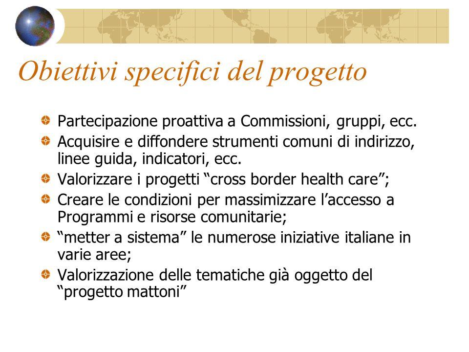 Obiettivi specifici del progetto Partecipazione proattiva a Commissioni, gruppi, ecc.