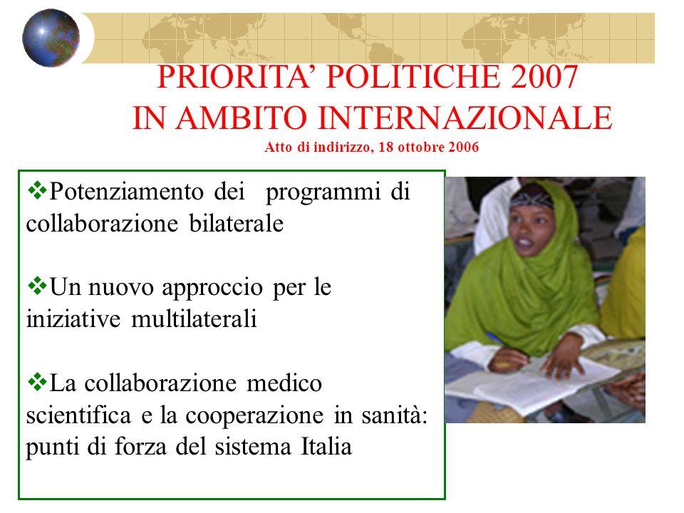 PRIORITA POLITICHE 2007 IN AMBITO INTERNAZIONALE Atto di indirizzo, 18 ottobre 2006 Potenziamento dei programmi di collaborazione bilaterale Un nuovo approccio per le iniziative multilaterali La collaborazione medico scientifica e la cooperazione in sanità: punti di forza del sistema Italia