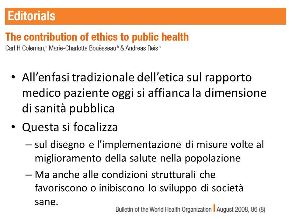 Allenfasi tradizionale delletica sul rapporto medico paziente oggi si affianca la dimensione di sanità pubblica Questa si focalizza – sul disegno e li
