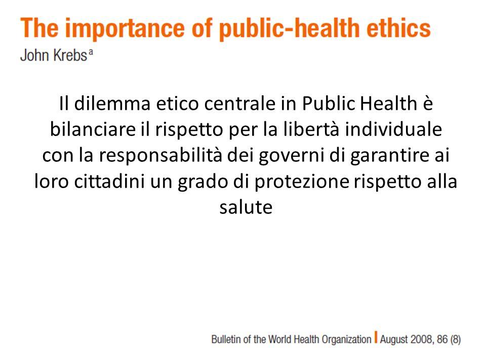 Il dilemma etico centrale in Public Health è bilanciare il rispetto per la libertà individuale con la responsabilità dei governi di garantire ai loro