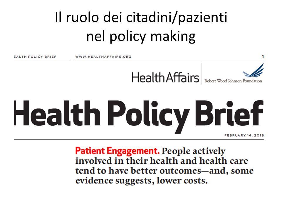 Il ruolo dei citadini/pazienti nel policy making