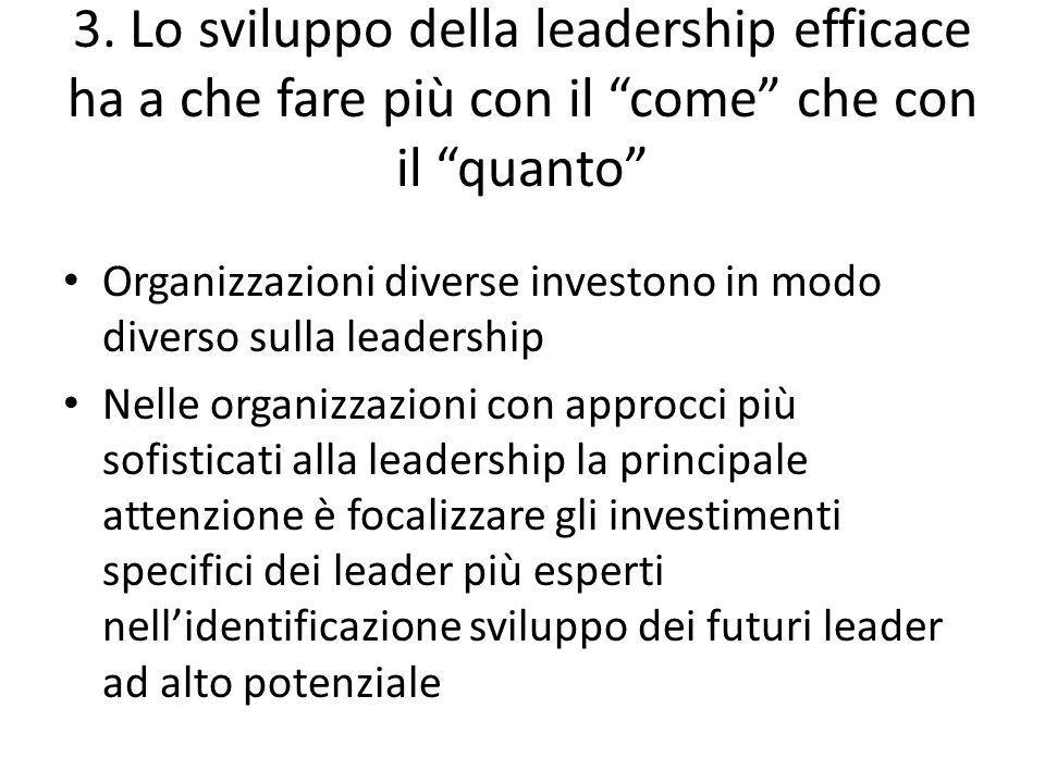 3. Lo sviluppo della leadership efficace ha a che fare più con il come che con il quanto Organizzazioni diverse investono in modo diverso sulla leader