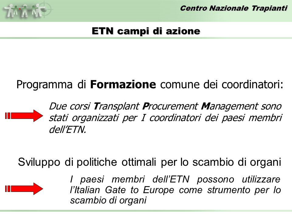 Centro Nazionale Trapianti ETN campi di azione Programma di Formazione comune dei coordinatori: Due corsi Transplant Procurement Management sono stati