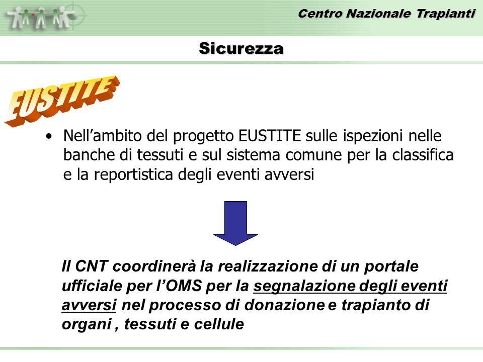 Centro Nazionale Trapianti Nellambito del progetto EUSTITE sulle ispezioni nelle banche di tessuti e sul sistema comune per la classifica e la reporti