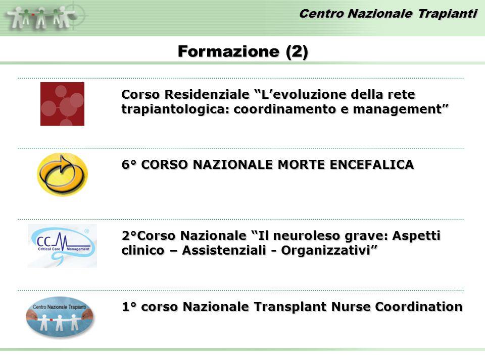 Centro Nazionale Trapianti Formazione (2) Corso Residenziale Levoluzione della rete trapiantologica: coordinamento e management 2°Corso Nazionale Il n