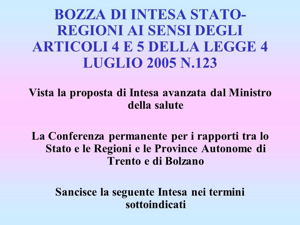 BOZZA DI INTESA STATO- REGIONI AI SENSI DEGLI ARTICOLI 4 E 5 DELLA LEGGE 4 LUGLIO 2005 N.123 Vista la proposta di Intesa avanzata dal Ministro della s