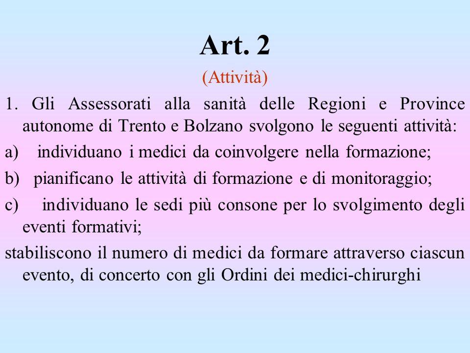 Art. 2 (Attività) 1. Gli Assessorati alla sanità delle Regioni e Province autonome di Trento e Bolzano svolgono le seguenti attività: a) individuano i