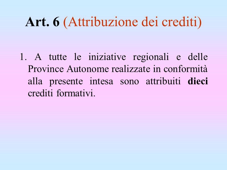 Art. 6 (Attribuzione dei crediti) 1. A tutte le iniziative regionali e delle Province Autonome realizzate in conformità alla presente intesa sono attr