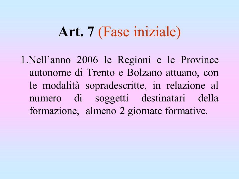 Art. 7 (Fase iniziale) 1.Nellanno 2006 le Regioni e le Province autonome di Trento e Bolzano attuano, con le modalità sopradescritte, in relazione al