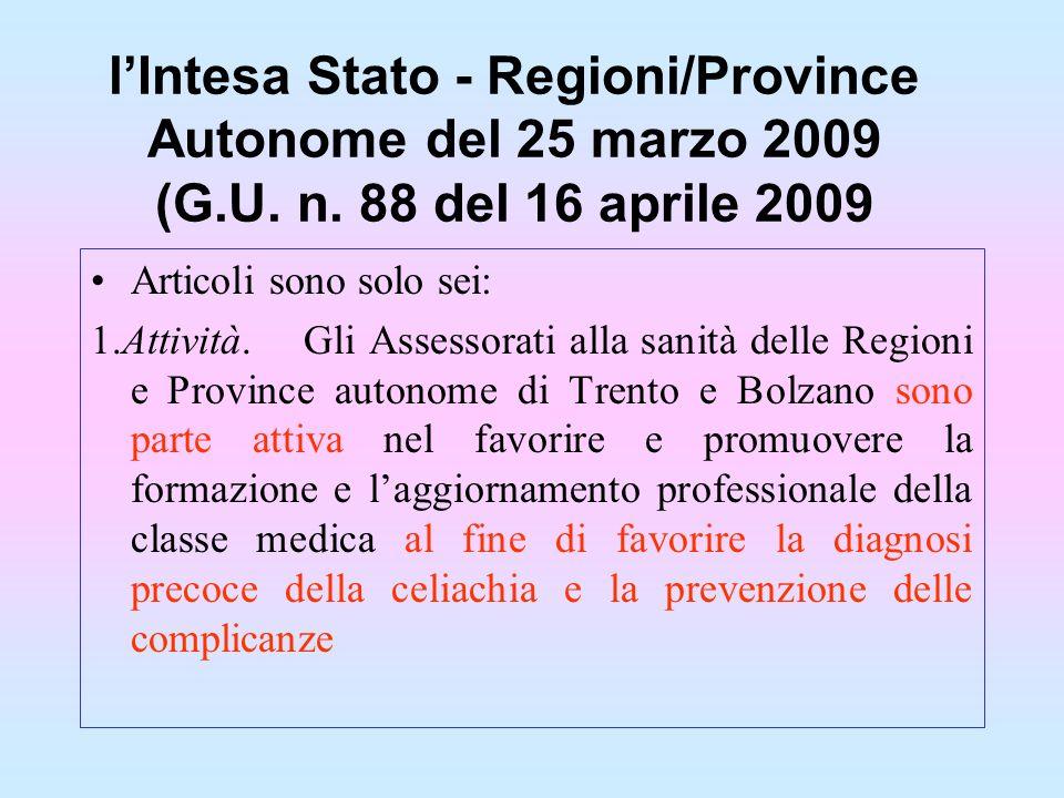 lIntesa Stato - Regioni/Province Autonome del 25 marzo 2009 (G.U. n. 88 del 16 aprile 2009 Articoli sono solo sei: 1.Attività.Gli Assessorati alla san