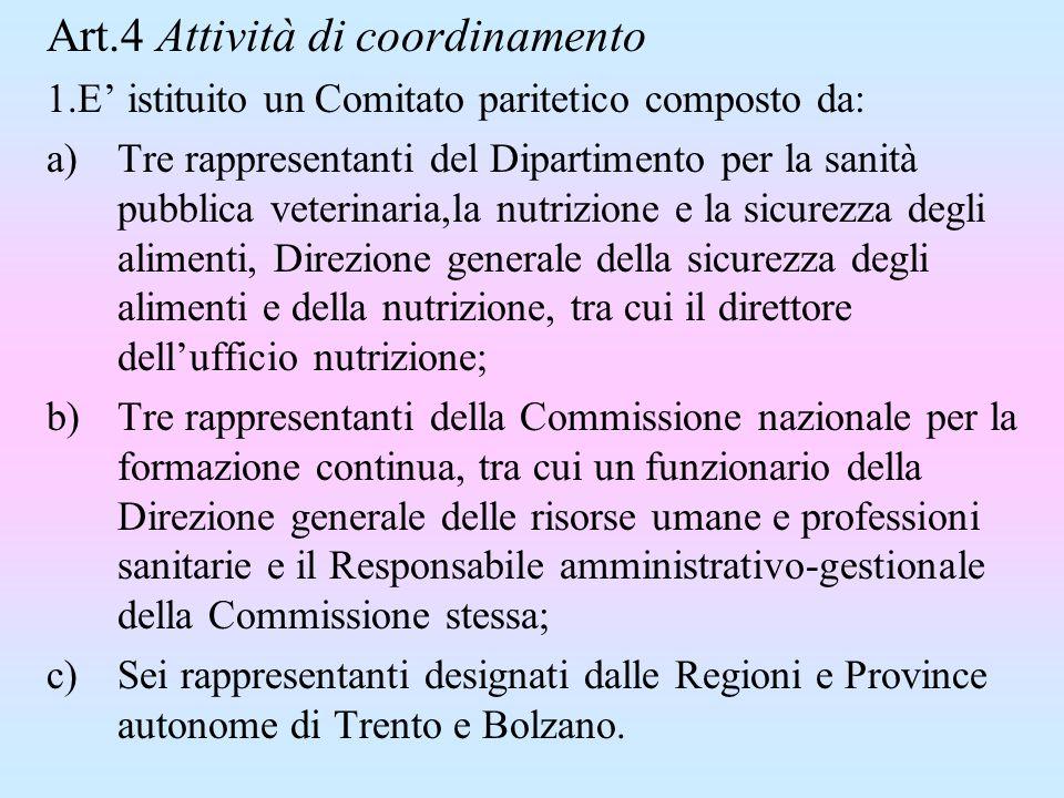 Art.4 Attività di coordinamento 1.E istituito un Comitato paritetico composto da: a)Tre rappresentanti del Dipartimento per la sanità pubblica veterin