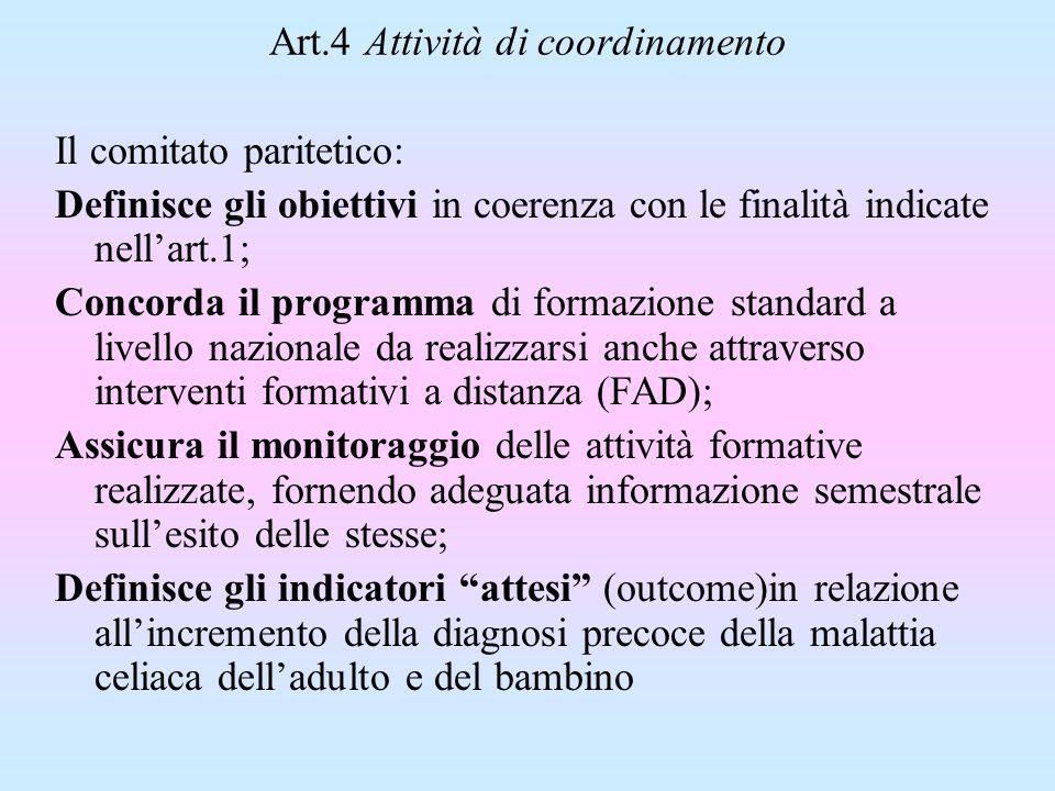 Art.4 Attività di coordinamento Il comitato paritetico: Definisce gli obiettivi in coerenza con le finalità indicate nellart.1; Concorda il programma