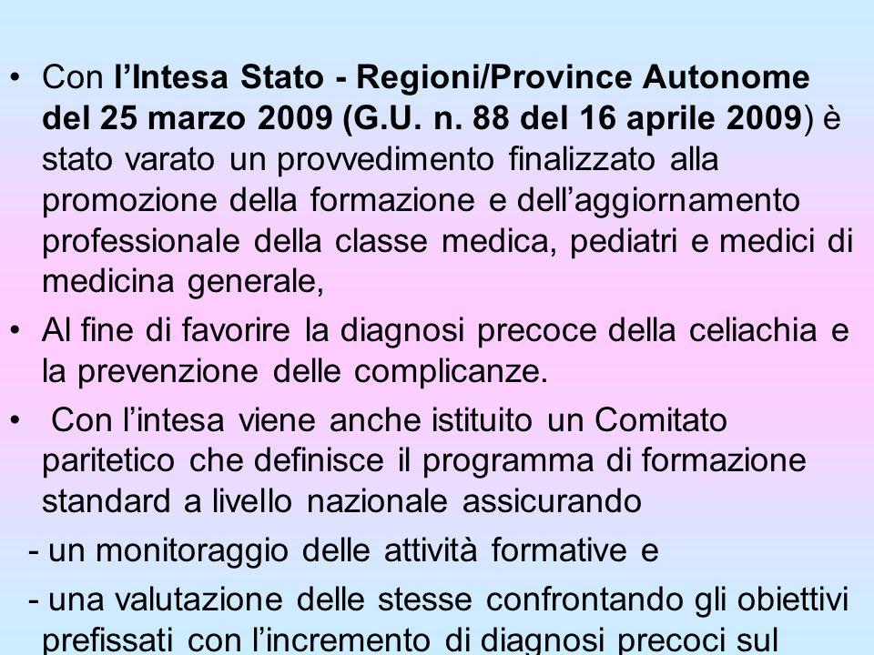 Con lIntesa Stato - Regioni/Province Autonome del 25 marzo 2009 (G.U. n. 88 del 16 aprile 2009) è stato varato un provvedimento finalizzato alla promo