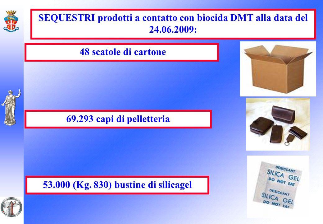 SEQUESTRI prodotti a contatto con biocida DMT alla data del 24.06.2009: 48 scatole di cartone 69.293 capi di pelletteria 53.000 (Kg. 830) bustine di s
