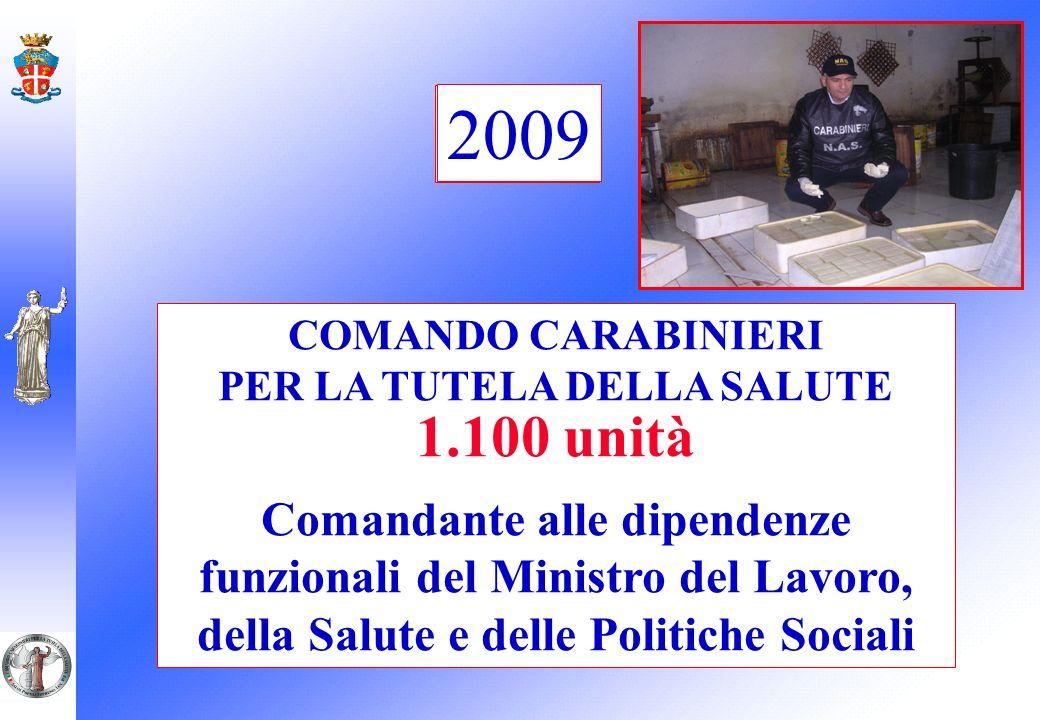COMANDO CARABINIERI PER LA TUTELA DELLA SALUTE 1.100 unità Comandante alle dipendenze funzionali del Ministro del Lavoro, della Salute e delle Politic