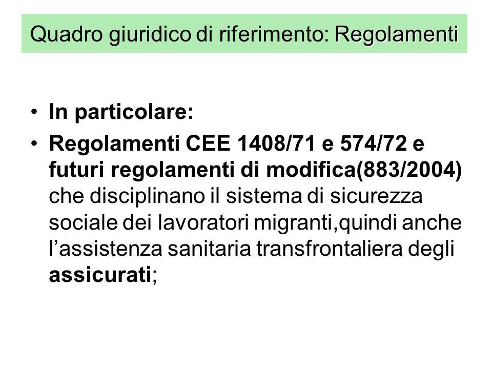 Regolamenti Quadro giuridico di riferimento: Regolamenti In particolare: Regolamenti CEE 1408/71 e 574/72 e futuri regolamenti di modifica(883/2004) che disciplinano il sistema di sicurezza sociale dei lavoratori migranti,quindi anche lassistenza sanitaria transfrontaliera degli assicurati;
