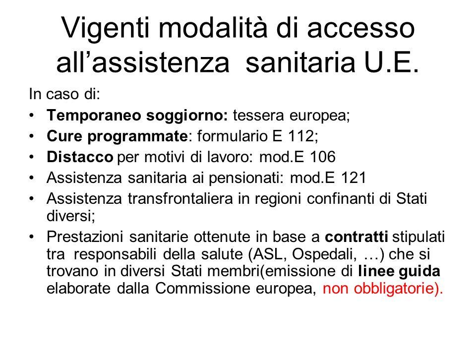 Vigenti modalità di accesso allassistenza sanitaria U.E.