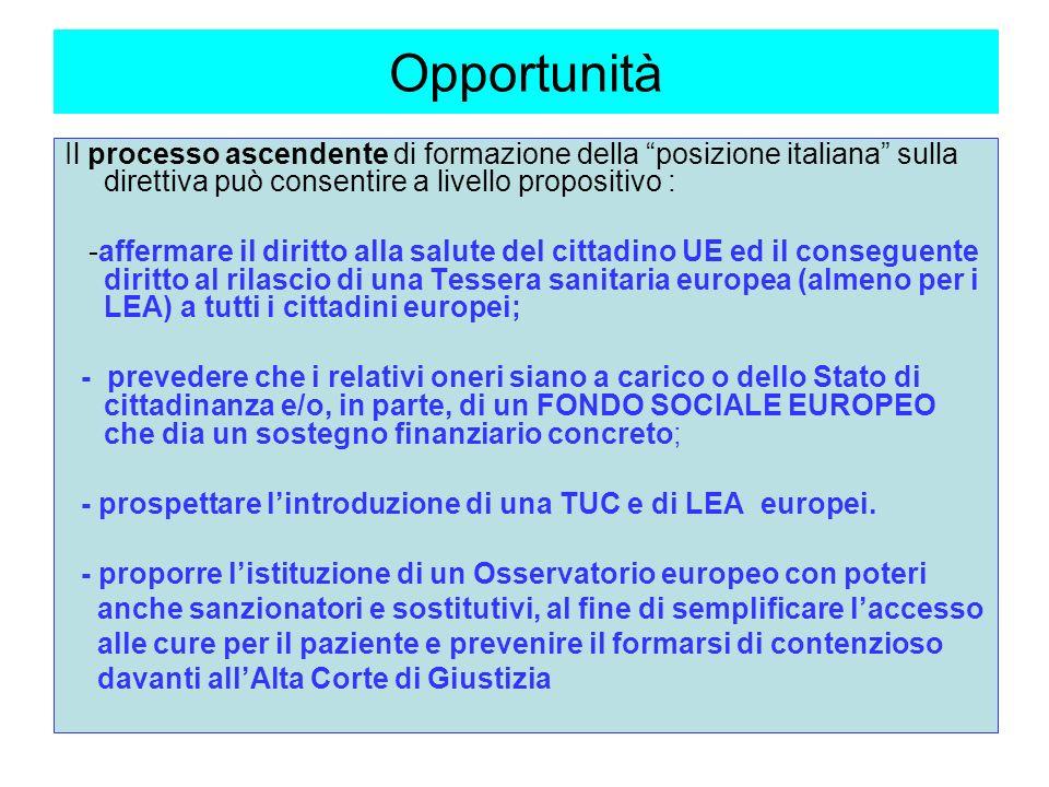 Opportunità Il processo ascendente di formazione della posizione italiana sulla direttiva può consentire a livello propositivo : -affermare il diritto alla salute del cittadino UE ed il conseguente diritto al rilascio di una Tessera sanitaria europea (almeno per i LEA) a tutti i cittadini europei; - prevedere che i relativi oneri siano a carico o dello Stato di cittadinanza e/o, in parte, di un FONDO SOCIALE EUROPEO che dia un sostegno finanziario concreto; - prospettare lintroduzione di una TUC e di LEA europei.