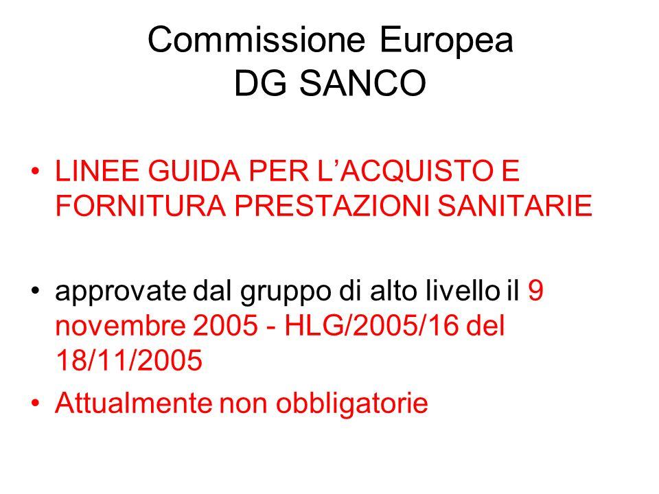 Commissione Europea DG SANCO LINEE GUIDA PER LACQUISTO E FORNITURA PRESTAZIONI SANITARIE approvate dal gruppo di alto livello il 9 novembre 2005 - HLG/2005/16 del 18/11/2005 Attualmente non obbligatorie