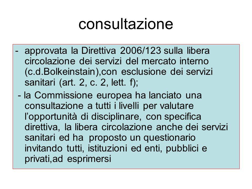 consultazione -approvata la Direttiva 2006/123 sulla libera circolazione dei servizi del mercato interno (c.d.Bolkeinstain),con esclusione dei servizi sanitari (art.