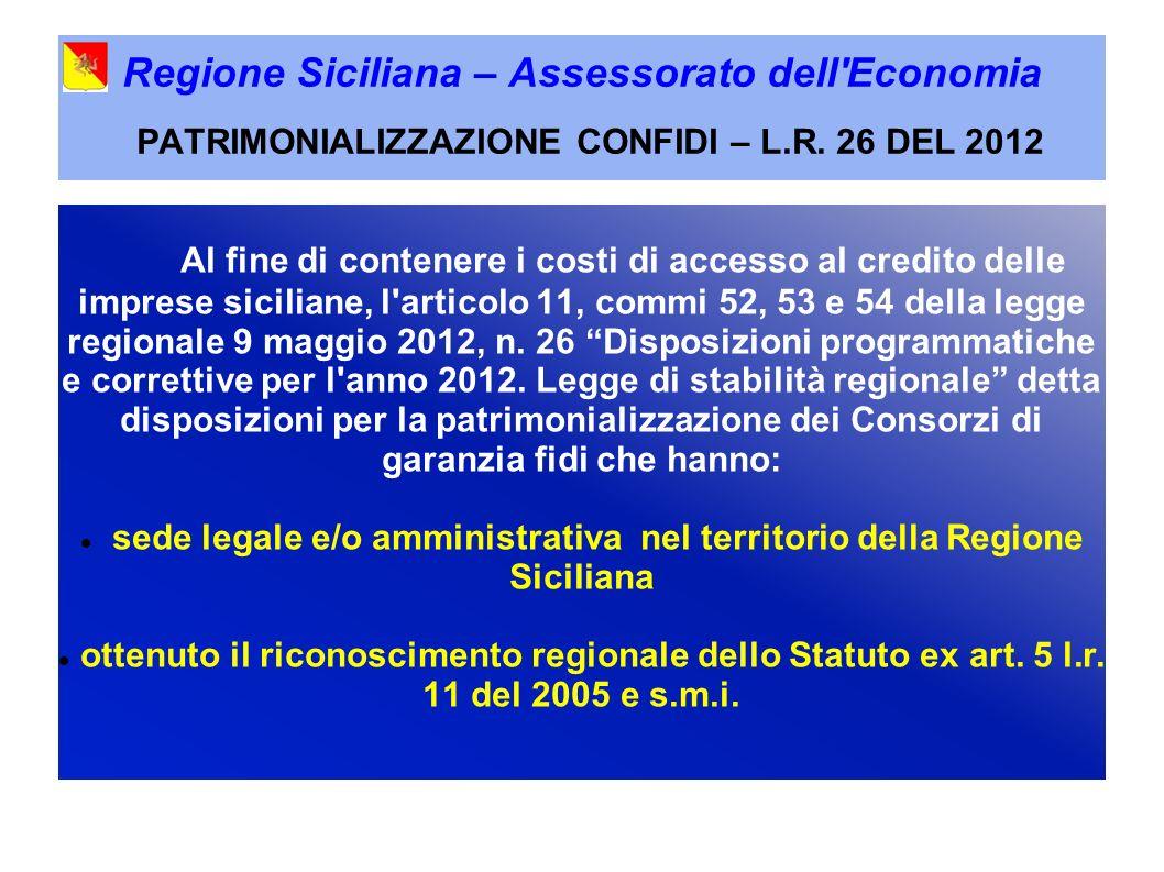 Regione Siciliana – Assessorato dell Economia PATRIMONIALIZZAZIONE CONFIDI – L.R.
