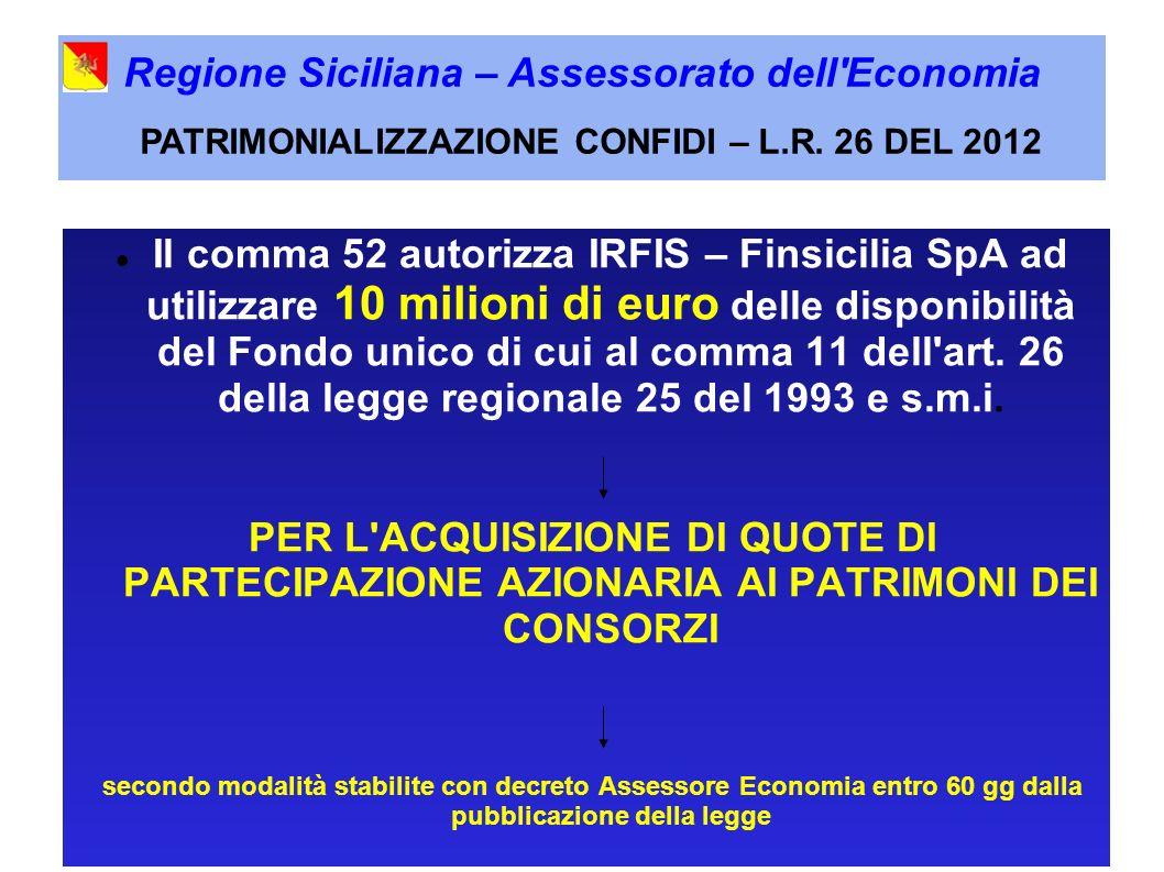 Il comma 52 autorizza IRFIS – Finsicilia SpA ad utilizzare 10 milioni di euro delle disponibilità del Fondo unico di cui al comma 11 dell art.