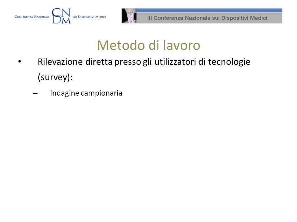 Metodo di lavoro Rilevazione diretta presso gli utilizzatori di tecnologie (survey): – Indagine campionaria