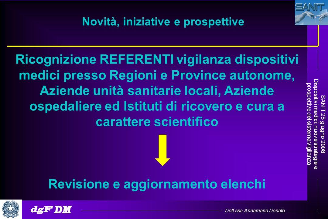 Dott.ssa Annamaria Donato SANIT 25 giugno 2008 Dispositivi medici: nuove strategie e prospettive del sistema vigilanza Ricognizione REFERENTI vigilanz