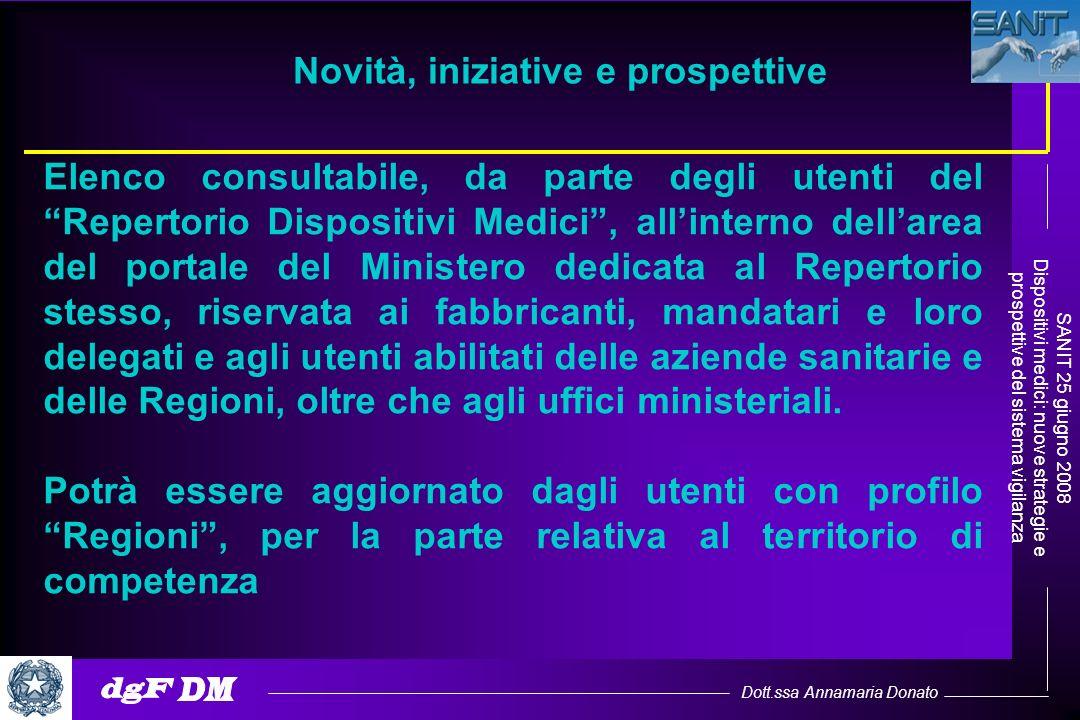 Dott.ssa Annamaria Donato SANIT 25 giugno 2008 Dispositivi medici: nuove strategie e prospettive del sistema vigilanza Elenco consultabile, da parte d