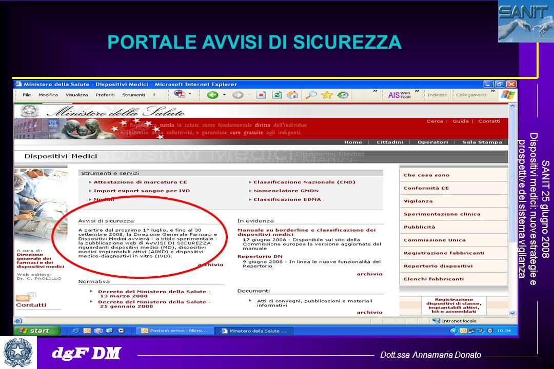 Dott.ssa Annamaria Donato SANIT 25 giugno 2008 Dispositivi medici: nuove strategie e prospettive del sistema vigilanza PORTALE AVVISI DI SICUREZZA