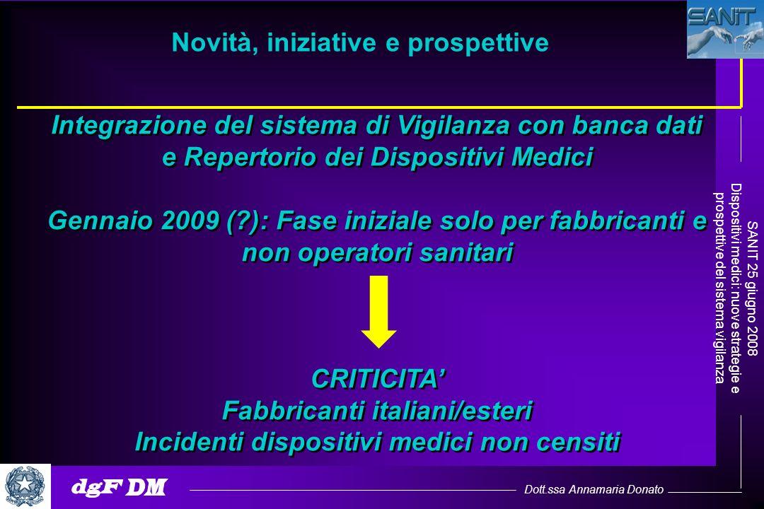 Dott.ssa Annamaria Donato SANIT 25 giugno 2008 Dispositivi medici: nuove strategie e prospettive del sistema vigilanza Integrazione del sistema di Vig